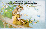 Advertisement, girl with flowers, A. Rosenblatt, 2nd. St., Philadelphia, c. 1880.