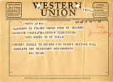 Telegram of 1954 October 13