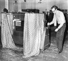 Voting machines being cranked