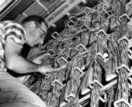 Bell Telephone worker installs new equipment
