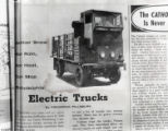 Advertisement for Curtis Publishing Company's use of electric trucks