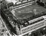 Aerial of Connie Mack Stadium damaged and abandoned