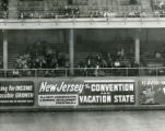 Advertisements and the crowd at Shibe Park