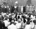 """Roy Wilkins addresses demonstrators"""