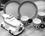 Taxicab-themed tableware