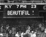 Scoreboard at Eagles game at Veterans Stadium
