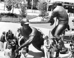 Dedication of baseball players sculpture outside Veterans Stadium