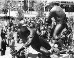 Sculptures of baseball players outside Veterans Stadium