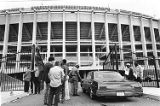 Security guards picket outside of Veterans Stadium