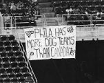 Sign made by Phillies fan hangs at Veterans Stadium