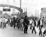 Antiwar demonstrators march over the Benjamin Franklin Bridge