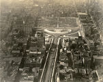 Aerial view of Benjamin Franklin Bridge and Franklin Sqaure