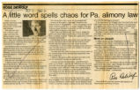 A little word spells chaos for Pa. alimony law