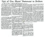 Text of Gen. Hayes' statement to strikers