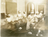Female students in cooking course