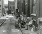 Children playing in alleyway