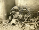 Three children on Railroad Avenue