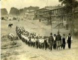 Men march in line at Camp Meade in Maryland